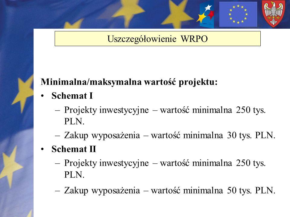 Minimalna/maksymalna wartość projektu: Schemat I –Projekty inwestycyjne – wartość minimalna 250 tys. PLN. –Zakup wyposażenia – wartość minimalna 30 ty
