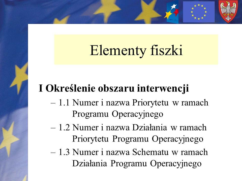 I Określenie obszaru interwencji –1.1 Numer i nazwa Priorytetu w ramach Programu Operacyjnego –1.2 Numer i nazwa Działania w ramach Priorytetu Program
