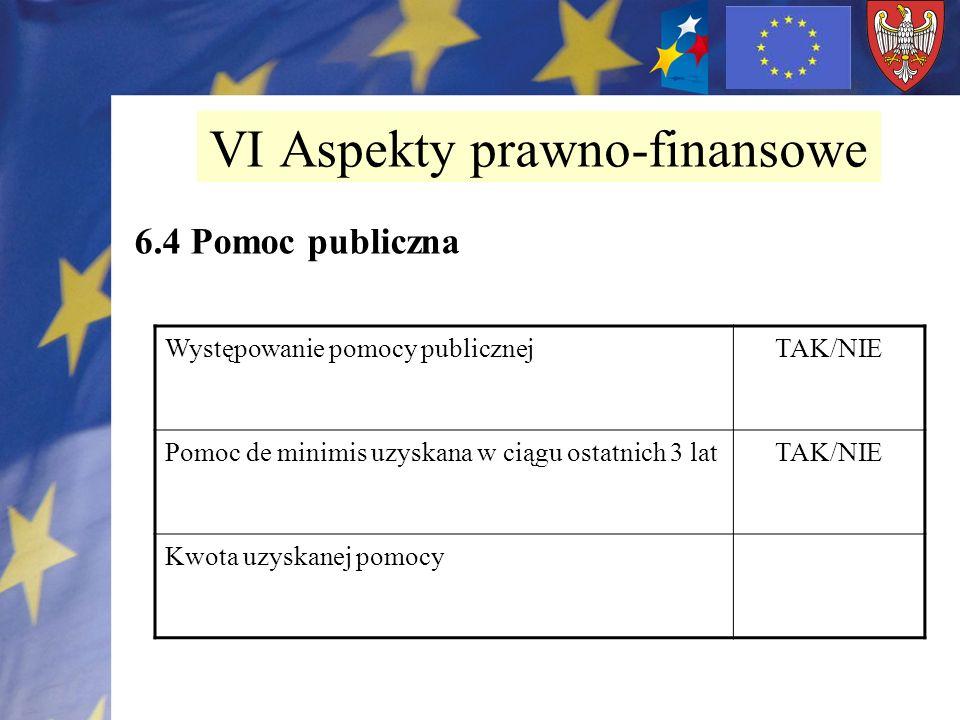 6.4 Pomoc publiczna VI Aspekty prawno-finansowe Występowanie pomocy publicznejTAK/NIE Pomoc de minimis uzyskana w ciągu ostatnich 3 latTAK/NIE Kwota u