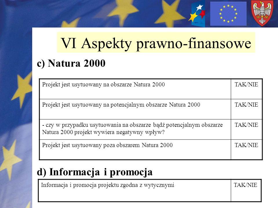 c) Natura 2000 d) Informacja i promocja VI Aspekty prawno-finansowe Projekt jest usytuowany na obszarze Natura 2000TAK/NIE Projekt jest usytuowany na