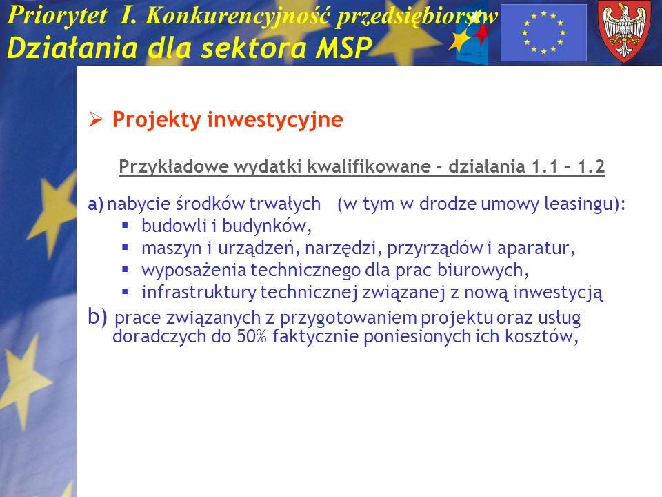 Priorytet I. Konkurencyjność przedsiębiorstw Działania dla sektora MSP Projekty inwestycyjne Przykładowe wydatki kwalifikowane - działania 1.1 – 1.2 a