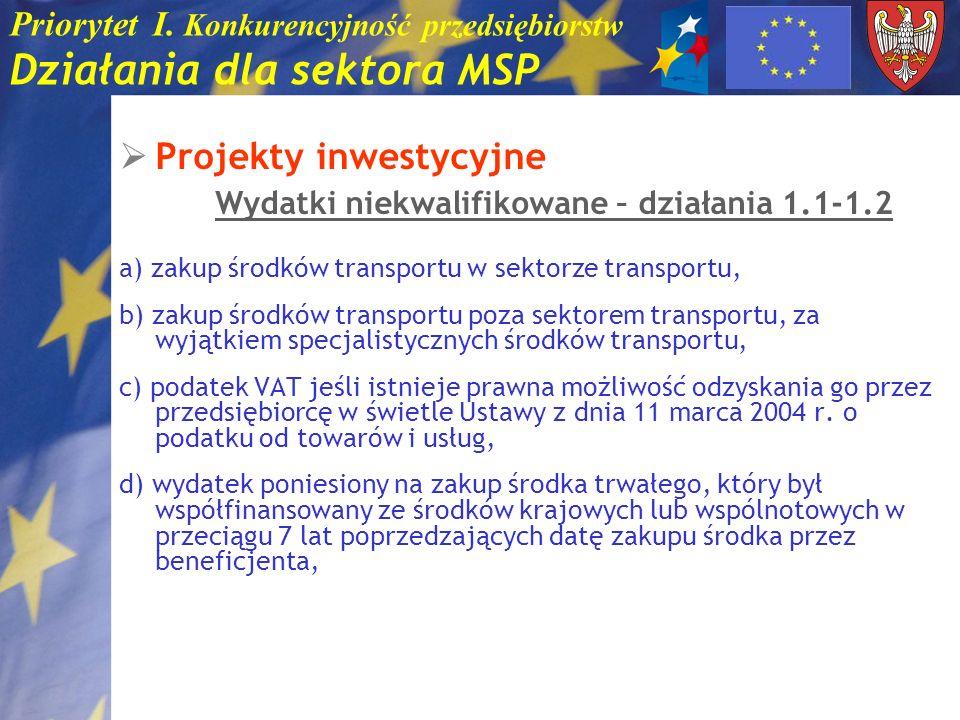 Priorytet I. Konkurencyjność przedsiębiorstw Działania dla sektora MSP Projekty inwestycyjne Wydatki niekwalifikowane – działania 1.1-1.2 a) zakup śro