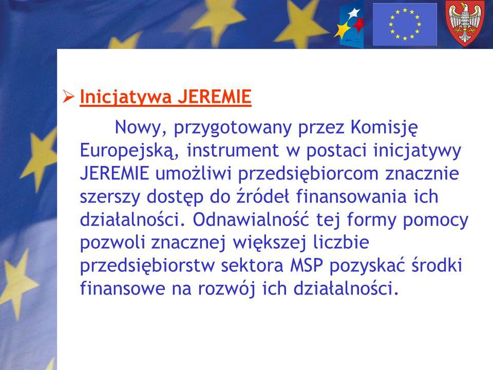 Inicjatywa JEREMIE Nowy, przygotowany przez Komisję Europejską, instrument w postaci inicjatywy JEREMIE umożliwi przedsiębiorcom znacznie szerszy dost