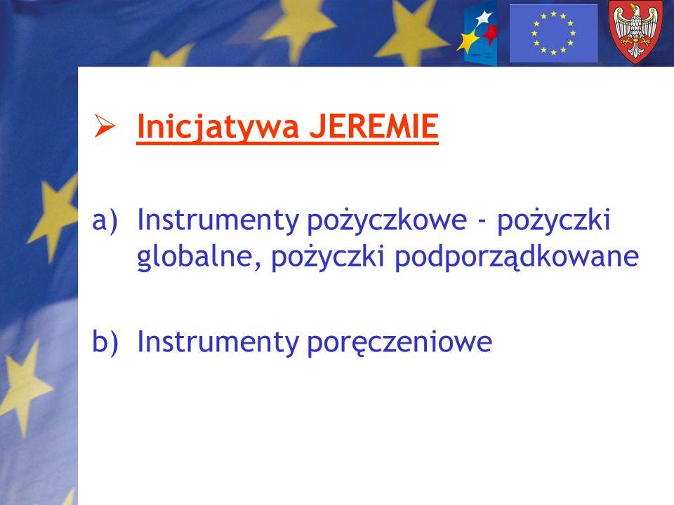 Inicjatywa JEREMIE a)Instrumenty pożyczkowe - pożyczki globalne, pożyczki podporządkowane b)Instrumenty poręczeniowe