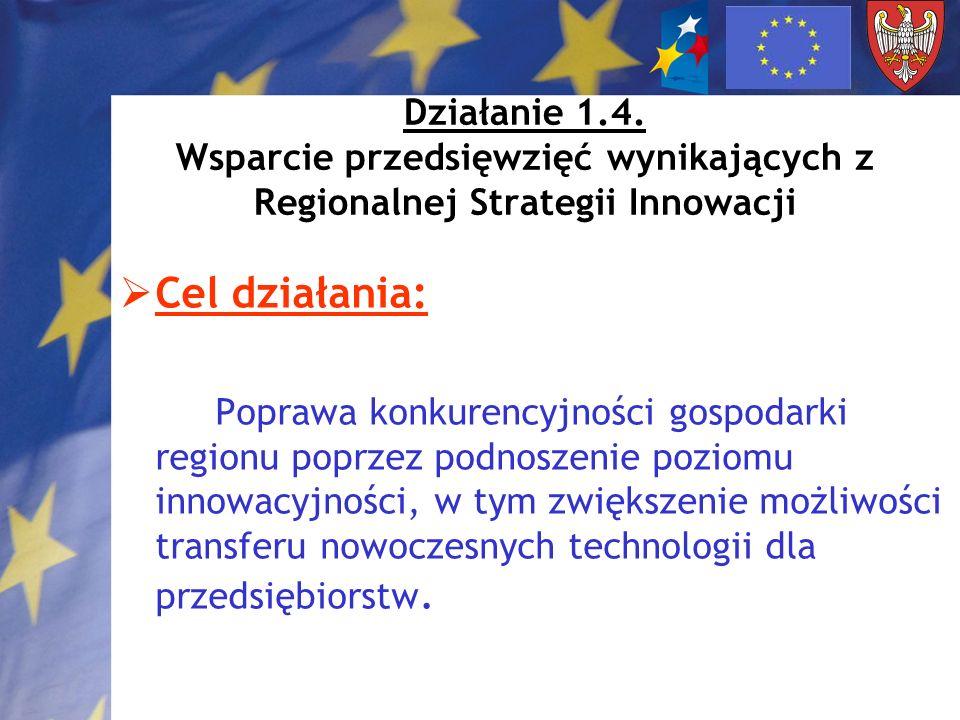 Działanie 1.4. Wsparcie przedsięwzięć wynikających z Regionalnej Strategii Innowacji Cel działania: Poprawa konkurencyjności gospodarki regionu poprze