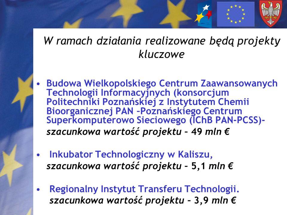 W ramach działania realizowane będą projekty kluczowe Budowa Wielkopolskiego Centrum Zaawansowanych Technologii Informacyjnych (konsorcjum Politechnik