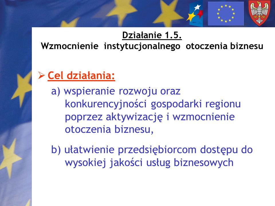 Działanie 1.5. Wzmocnienie instytucjonalnego otoczenia biznesu Cel działania: a) wspieranie rozwoju oraz konkurencyjności gospodarki regionu poprzez a
