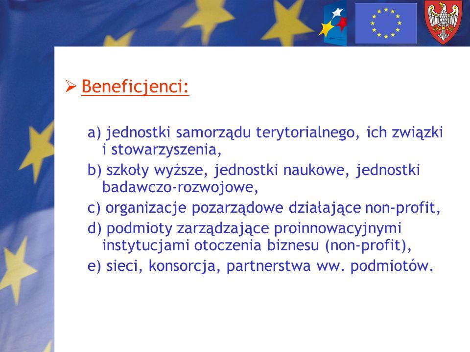 Beneficjenci: a) jednostki samorządu terytorialnego, ich związki i stowarzyszenia, b) szkoły wyższe, jednostki naukowe, jednostki badawczo-rozwojowe,
