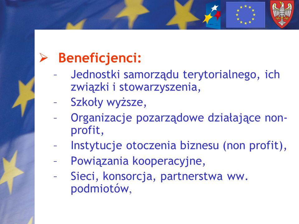 Beneficjenci: –Jednostki samorządu terytorialnego, ich związki i stowarzyszenia, –Szkoły wyższe, –Organizacje pozarządowe działające non- profit, –Ins