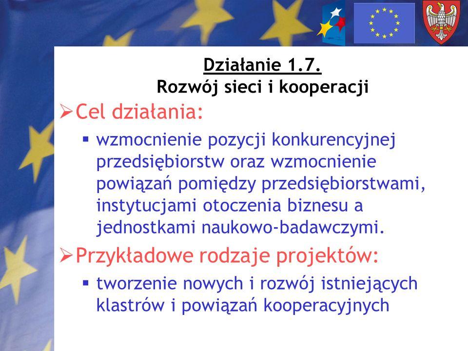 Działanie 1.7. Rozwój sieci i kooperacji Cel działania: wzmocnienie pozycji konkurencyjnej przedsiębiorstw oraz wzmocnienie powiązań pomiędzy przedsię