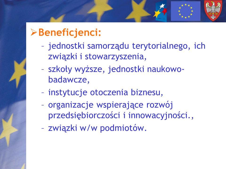Beneficjenci: –jednostki samorządu terytorialnego, ich związki i stowarzyszenia, –szkoły wyższe, jednostki naukowo- badawcze, –instytucje otoczenia bi