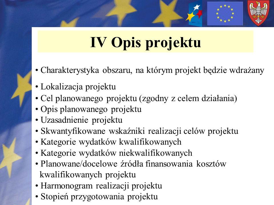 IV Opis projektu Charakterystyka obszaru, na którym projekt będzie wdrażany Lokalizacja projektu Cel planowanego projektu (zgodny z celem działania) O
