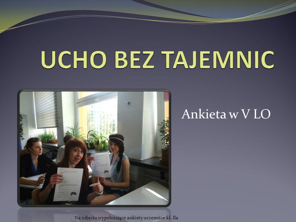 Ankieta w V LO Na zdjęciu wypełniające ankiety uczennice kl. IIa