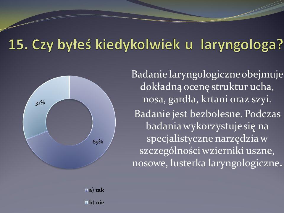 Badanie laryngologiczne obejmuje dokładną ocenę struktur ucha, nosa, gardła, krtani oraz szyi. Badanie jest bezbolesne. Podczas badania wykorzystuje s