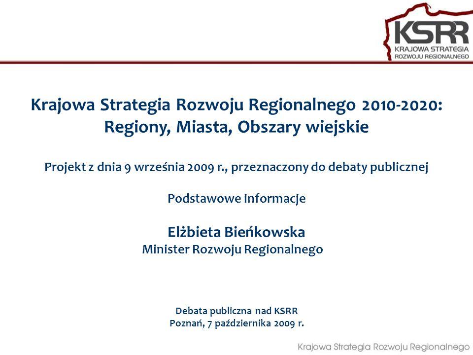 Likwidacja danego instrumentu i przekazanie dostępnych w jego ramach zadań i środków na inny niż krajowy poziom realizacji polityki rozwoju Proces prowadzony równolegle z debatą publiczną, w oparciu o ocenę istniejących instrumentów polityk sektorowych Przebudowa systemu dystrybucji terytorialnej środków dla zachowania spójności i komplementarności instrumentów polityki regionalnej Pozyskanie dodatkowych środków na finansowanie polityki regionalnej Trzy alternatywne rozwiązania zapewniające dostosowanie różnych polityk sektorowych/horyzontalnych o znaczącym oddziaływaniu terytorialnym do realizacji efektywnej polityki regionalnej Likwidacja danego instrumentu i przekazanie dotychczasowych środków na realizacje polityki regionalnej KSRR i włączenie do systemu Kontraktów terytorialnych Pozostawienie instrumentu jako elementu polityki sektorowej przy jednoczesnej modyfikacji reguł alokacyjnych w odniesieniu do przestrzeni, uwzględniając cele rozwoju kraju odnoszące się do terytorium Określenie najwłaściwszego poziomu wdrażania działań (regionalnie czy centralnie)