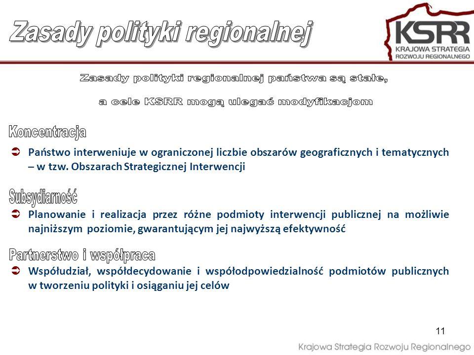 11 Państwo interweniuje w ograniczonej liczbie obszarów geograficznych i tematycznych – w tzw. Obszarach Strategicznej Interwencji Planowanie i realiz