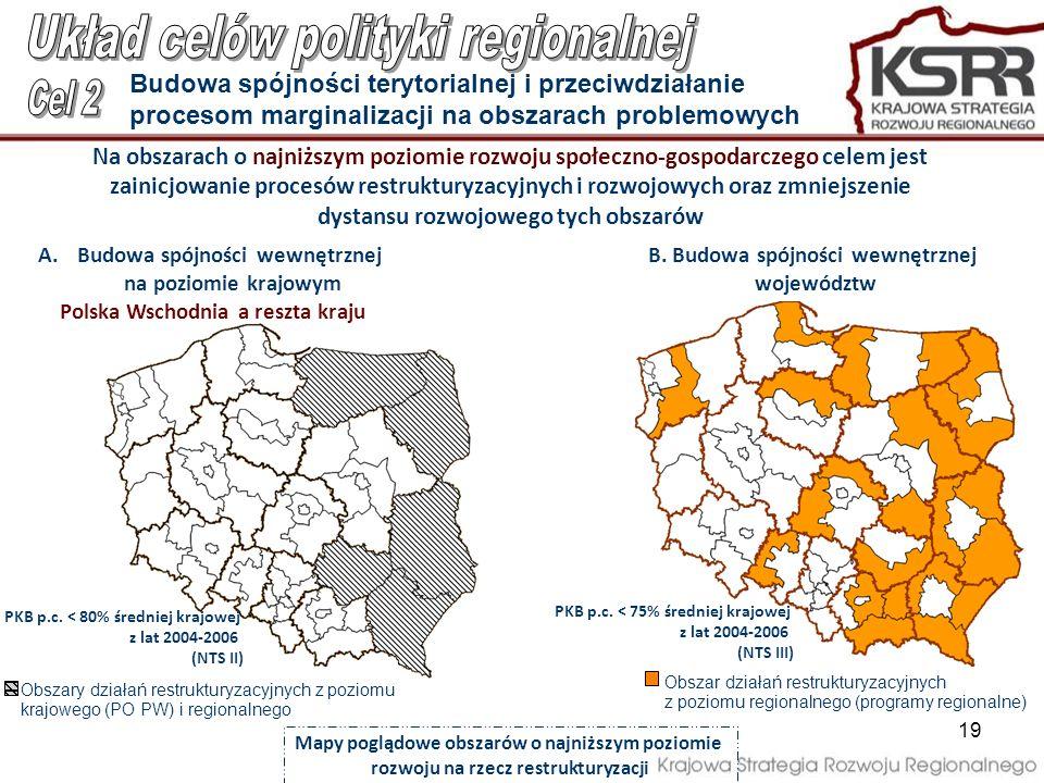 19 Na obszarach o najniższym poziomie rozwoju społeczno-gospodarczego celem jest zainicjowanie procesów restrukturyzacyjnych i rozwojowych oraz zmniej