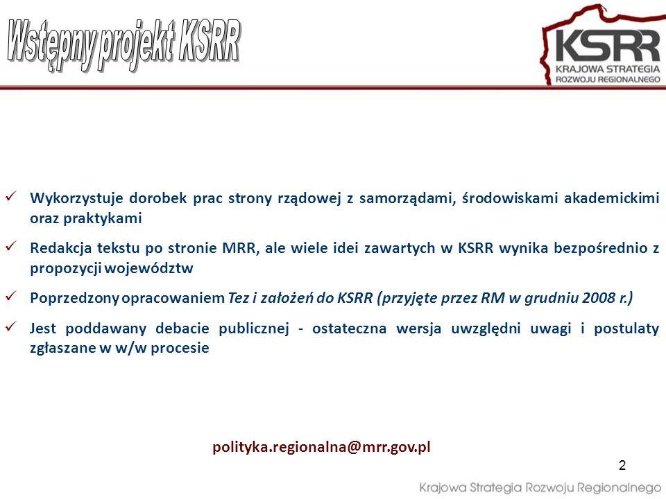 2 Wykorzystuje dorobek prac strony rządowej z samorządami, środowiskami akademickimi oraz praktykami Redakcja tekstu po stronie MRR, ale wiele idei za