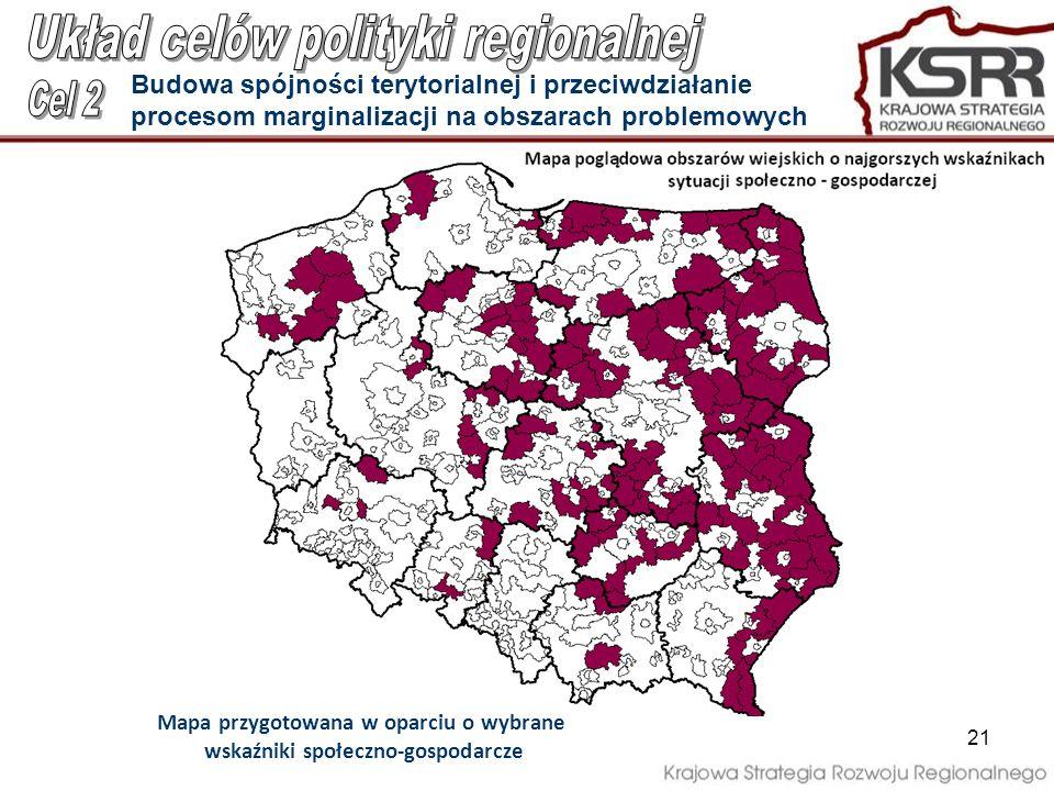 21 Budowa spójności terytorialnej i przeciwdziałanie procesom marginalizacji na obszarach problemowych Mapa przygotowana w oparciu o wybrane wskaźniki