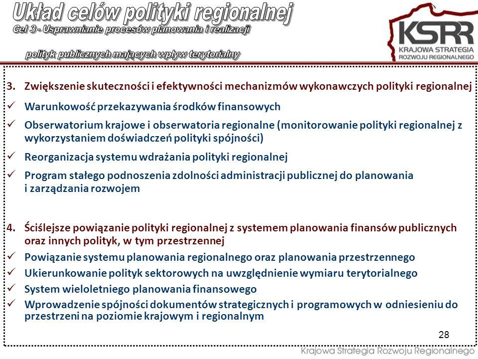 28 3.Zwiększenie skuteczności i efektywności mechanizmów wykonawczych polityki regionalnej Warunkowość przekazywania środków finansowych Obserwatorium