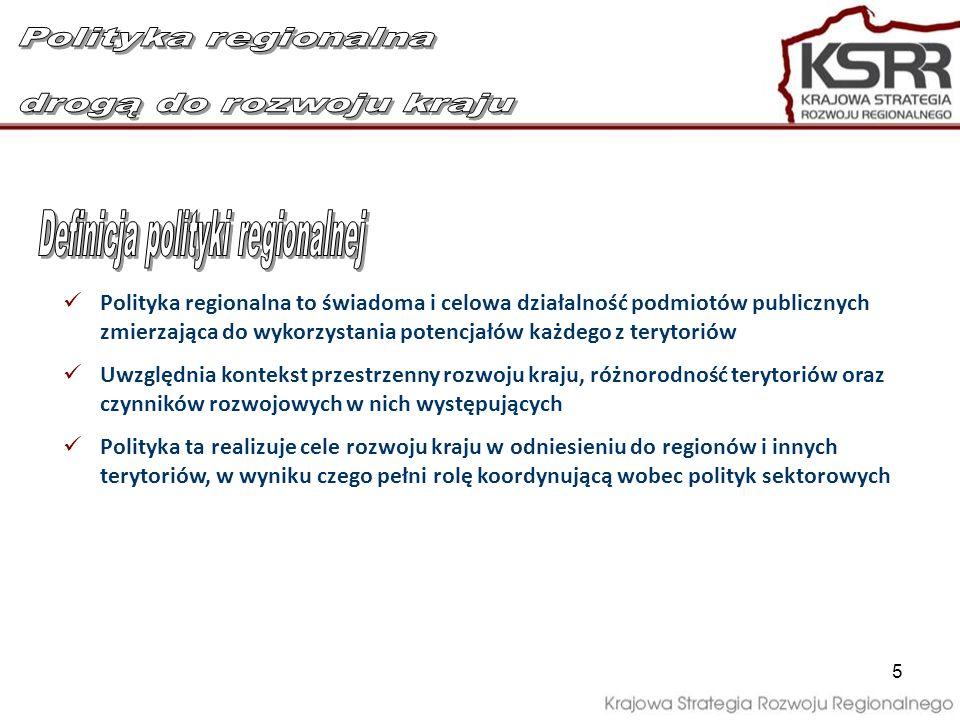 6 Polityka regionalna jest integralnym elementem polityki rozwoju wspomagającym osiąganie celów krajowych poprzez uruchamianie zasobów terytorialnych Polityka regionalna nie jest wyłącznie polityką dla biednych obszarów – nie zapomina o nich, ale przede wszystkim jest polityką dla wszystkich polskich regionów i terytoriów pomagając w najlepszy sposób wykorzystać ich potencjał rozwojowy a tam, gdzie potrzeba – dostarczając zasoby zewnętrzne Polityka regionalna nie jest polityką wspierania samorządów wojewódzkich – wspiera tworzenie i budowę tożsamości regionalnych (na bazie obecnych 16 województw) w wymiarze ekonomicznym, społecznym i kulturowym poprzez budowę wieloszczeblowego systemu zarządzania Polityka regionalna ma charakter zintegrowany – pozwala na integrację różnych polityk publicznych na poziomie krajowym i regionalnym Polityka regionalna jest skuteczna i efektywna – wspomaga niezbędne zmiany instytucjonalne, prawne i finansowe