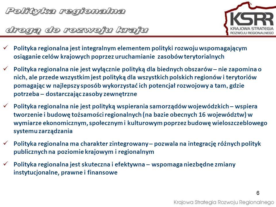 7 KSRR zmierza w kierunku dalszej decentralizacji funkcji państwa poprzez: Decentralizację instytucjonalną – zwiększenie roli samorządu województwa, jako kluczowego (obok MRR) podmiotu realizacji polityki regionalnej – węzła sieci systemu wieloszczeblowego zarządzania na poziomie regionalnym, będącego głównym ośrodkiem decyzyjnym i koordynacyjnym na tym poziomie Decentralizację finansową – zwiększenie ilości środków samorządów terytorialnych na prowadzenie polityki rozwoju, a jednocześnie wprowadzenie mechanizmu Kontraktu terytorialnego
