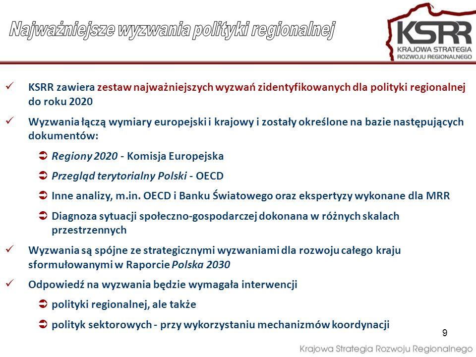 9 KSRR zawiera zestaw najważniejszych wyzwań zidentyfikowanych dla polityki regionalnej do roku 2020 Wyzwania łączą wymiary europejski i krajowy i zos
