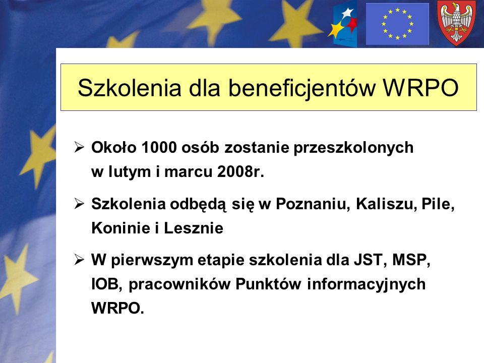 Szkolenia dla beneficjentów WRPO Około 1000 osób zostanie przeszkolonych w lutym i marcu 2008r. Szkolenia odbędą się w Poznaniu, Kaliszu, Pile, Konini