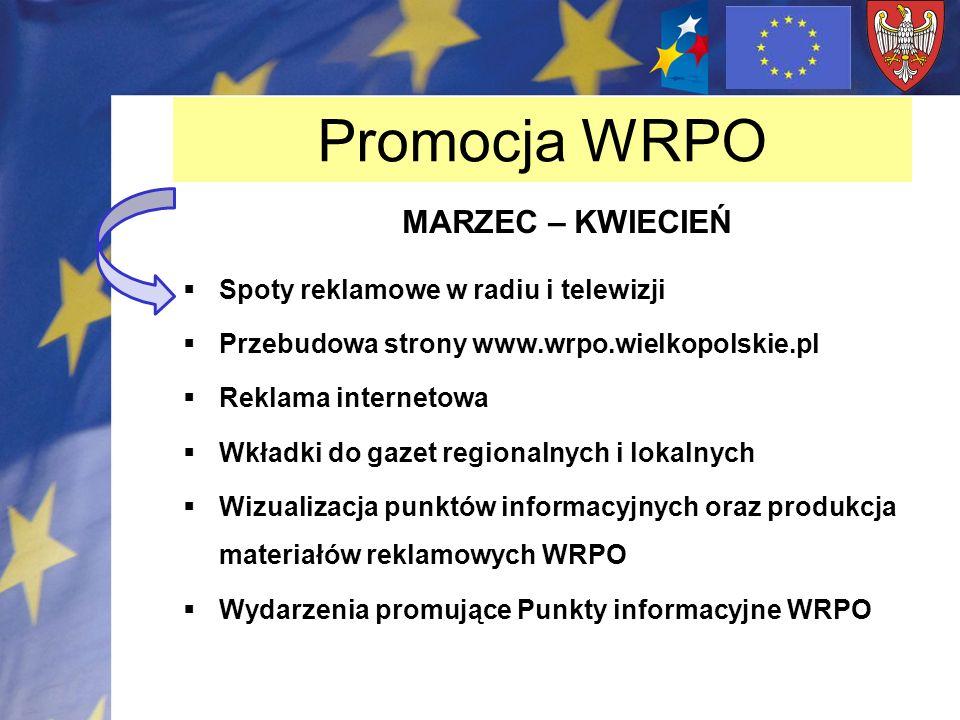 Promocja WRPO MARZEC – KWIECIEŃ Spoty reklamowe w radiu i telewizji Przebudowa strony www.wrpo.wielkopolskie.pl Reklama internetowa Wkładki do gazet r