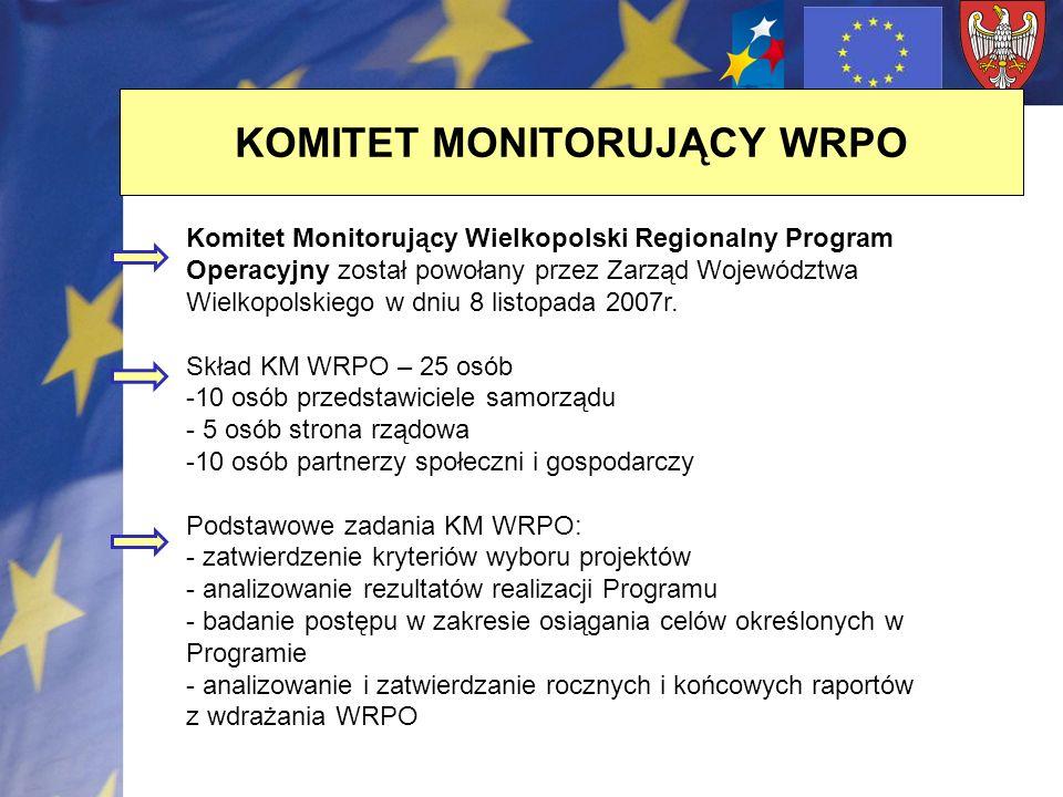 KOMITET MONITORUJĄCY WRPO Komitet Monitorujący Wielkopolski Regionalny Program Operacyjny został powołany przez Zarząd Województwa Wielkopolskiego w d