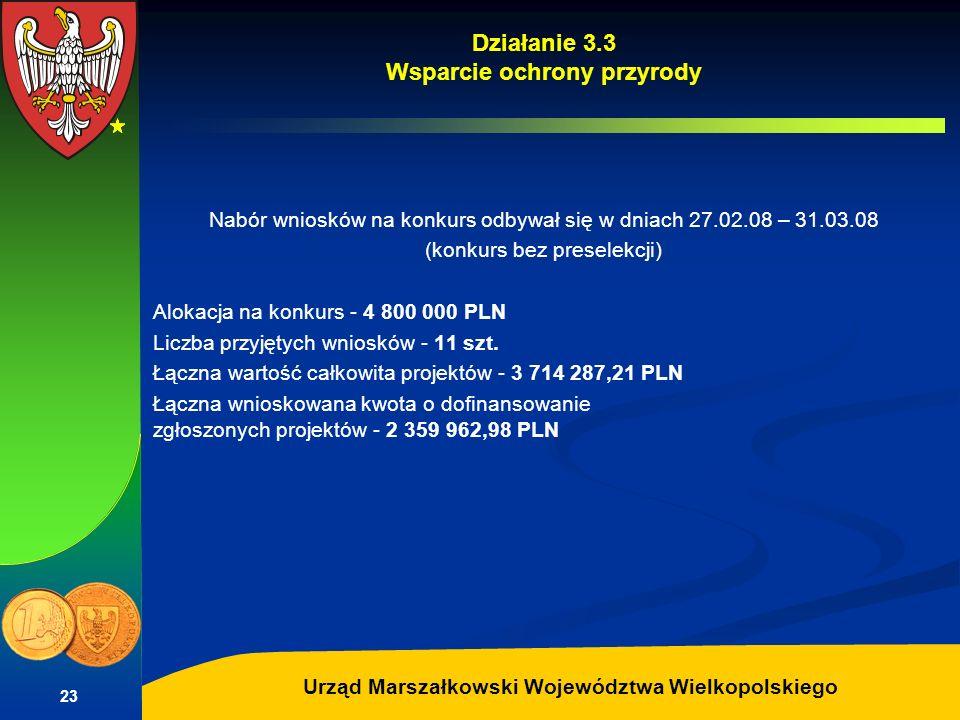 Autor: G.Potrzebowski Urząd Marszałkowski Województwa Wielkopolskiego 23 Działanie 3.3 Wsparcie ochrony przyrody Nabór wniosków na konkurs odbywał się