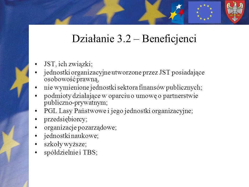 Działanie 3.2 – Beneficjenci JST, ich związki; jednostki organizacyjne utworzone przez JST posiadające osobowość prawną, nie wymienione jednostki sekt