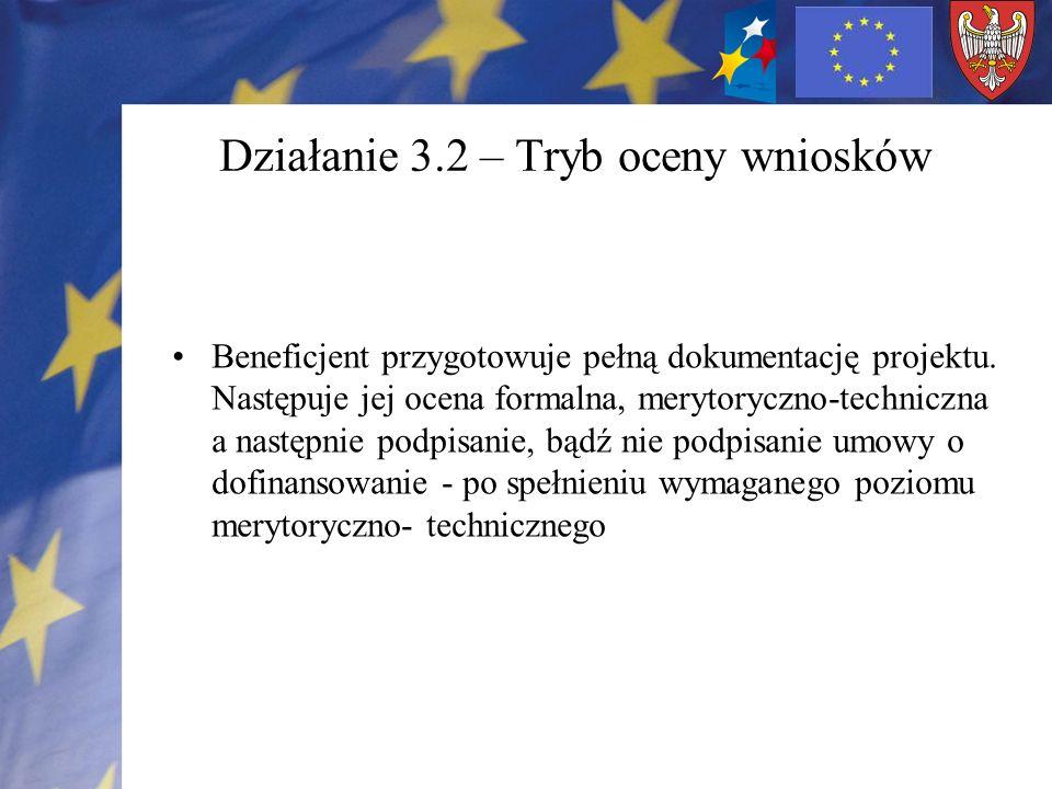 Działanie 3.2 – Tryb oceny wniosków Beneficjent przygotowuje pełną dokumentację projektu. Następuje jej ocena formalna, merytoryczno-techniczna a nast