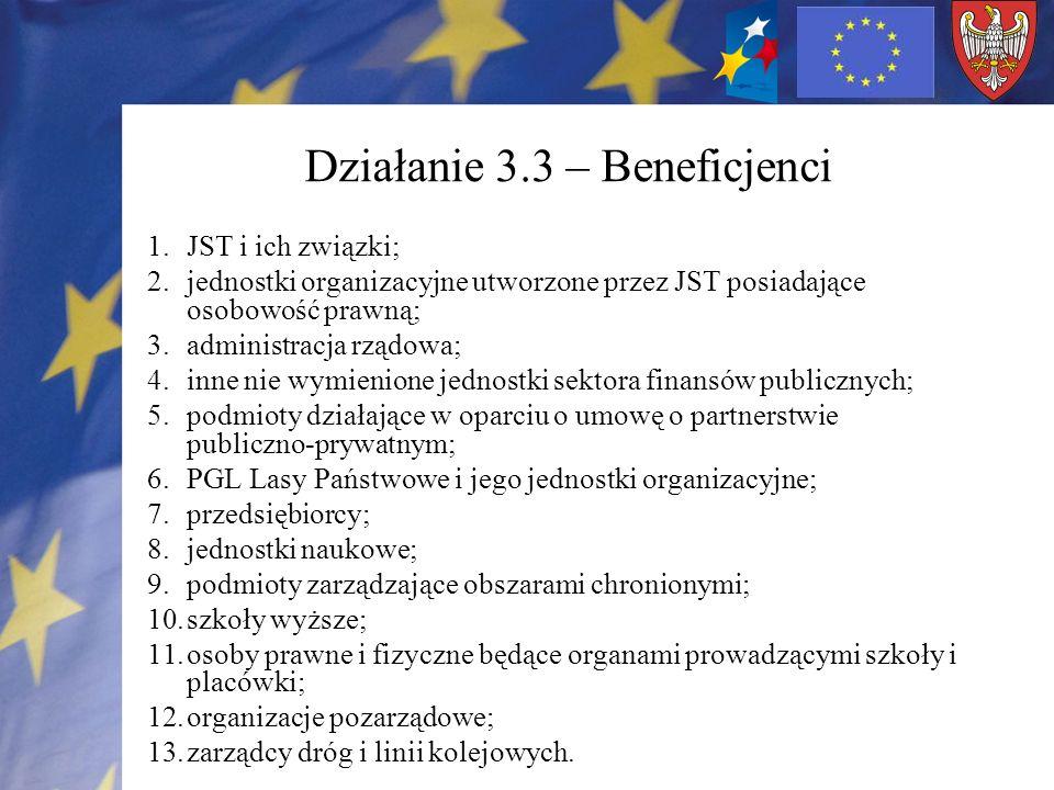 Działanie 3.3 – Beneficjenci 1.JST i ich związki; 2.jednostki organizacyjne utworzone przez JST posiadające osobowość prawną; 3.administracja rządowa;