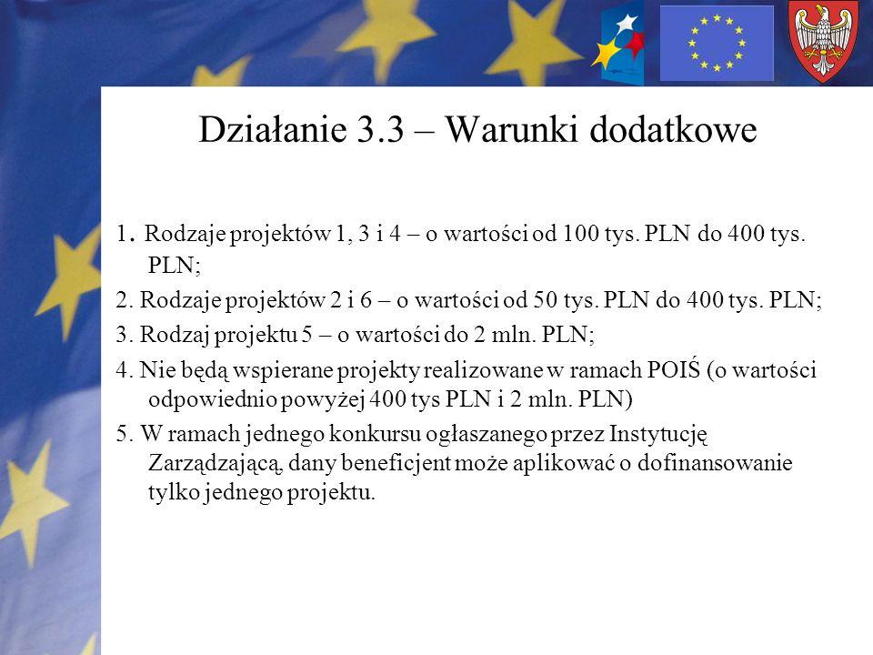 Działanie 3.3 – Warunki dodatkowe 1. Rodzaje projektów 1, 3 i 4 – o wartości od 100 tys. PLN do 400 tys. PLN; 2. Rodzaje projektów 2 i 6 – o wartości
