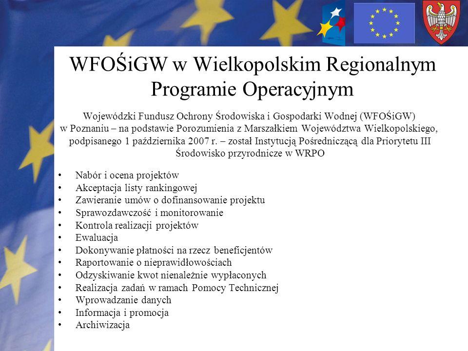 WFOŚiGW w Wielkopolskim Regionalnym Programie Operacyjnym Wojewódzki Fundusz Ochrony Środowiska i Gospodarki Wodnej (WFOŚiGW) w Poznaniu – na podstawi