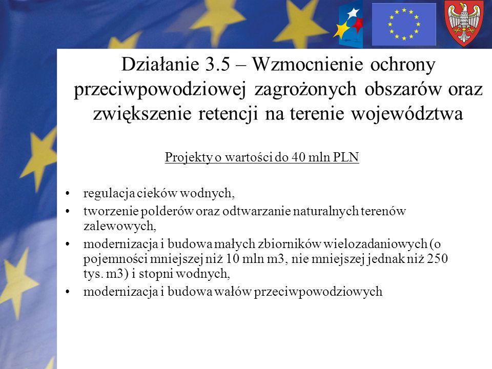 Działanie 3.5 – Wzmocnienie ochrony przeciwpowodziowej zagrożonych obszarów oraz zwiększenie retencji na terenie województwa Projekty o wartości do 40