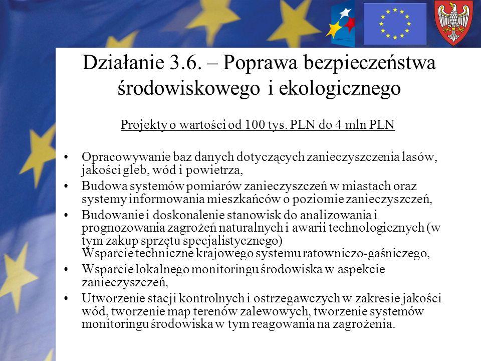 Działanie 3.6. – Poprawa bezpieczeństwa środowiskowego i ekologicznego Projekty o wartości od 100 tys. PLN do 4 mln PLN Opracowywanie baz danych dotyc
