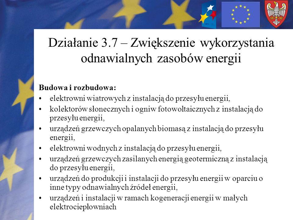 Działanie 3.7 – Zwiększenie wykorzystania odnawialnych zasobów energii Budowa i rozbudowa: elektrowni wiatrowych z instalacją do przesyłu energii, kol