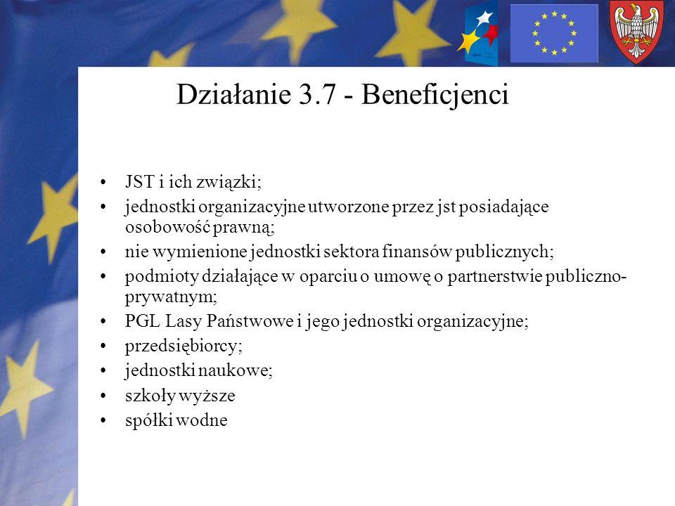 Działanie 3.7 - Beneficjenci JST i ich związki; jednostki organizacyjne utworzone przez jst posiadające osobowość prawną; nie wymienione jednostki sek