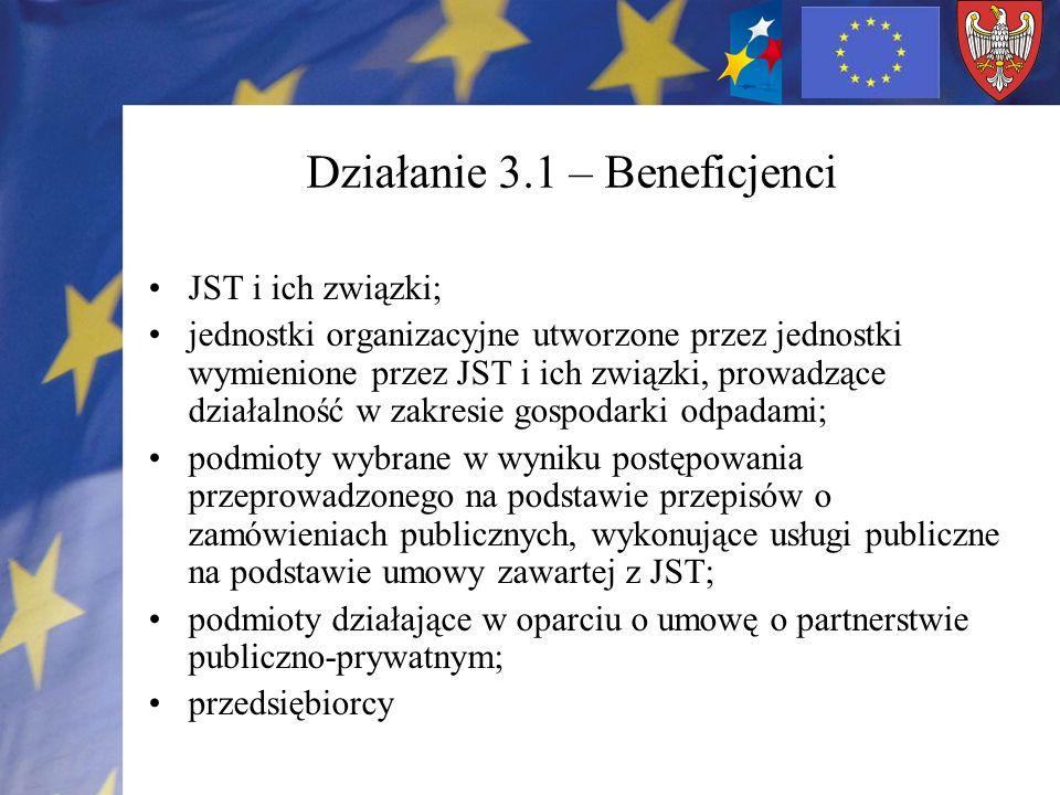 Działanie 3.1 – Beneficjenci JST i ich związki; jednostki organizacyjne utworzone przez jednostki wymienione przez JST i ich związki, prowadzące dział