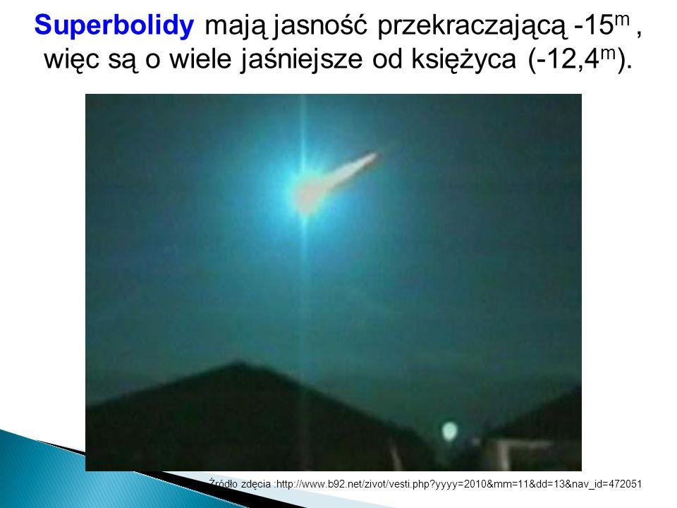 Superbolidy mają jasność przekraczającą -15 m, więc są o wiele jaśniejsze od księżyca (-12,4 m ). Źródło zdęcia :http://www.b92.net/zivot/vesti.php?yy