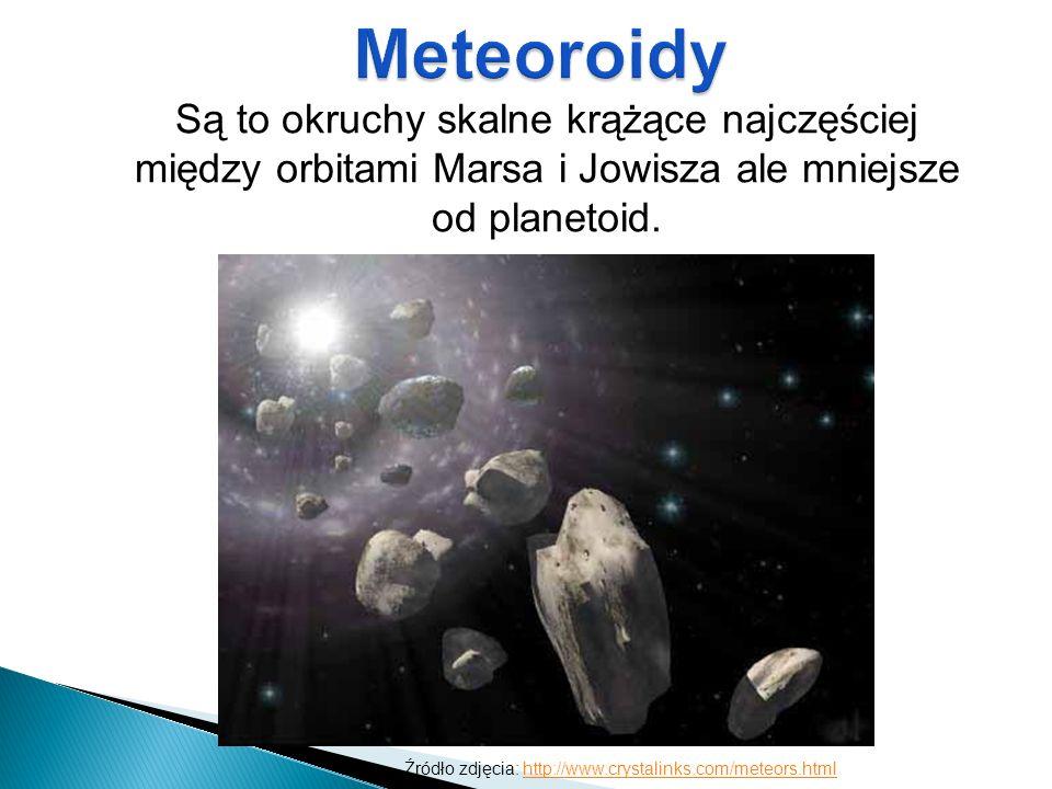 Są to okruchy skalne krążące najczęściej między orbitami Marsa i Jowisza ale mniejsze od planetoid. Źródło zdjęcia: http://www.crystalinks.com/meteors
