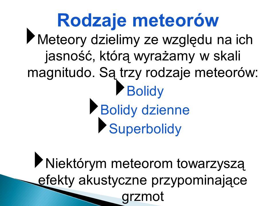 Meteory dzielimy ze względu na ich jasność, którą wyrażamy w skali magnitudo. Są trzy rodzaje meteorów: Bolidy Bolidy dzienne Superbolidy Niektórym me