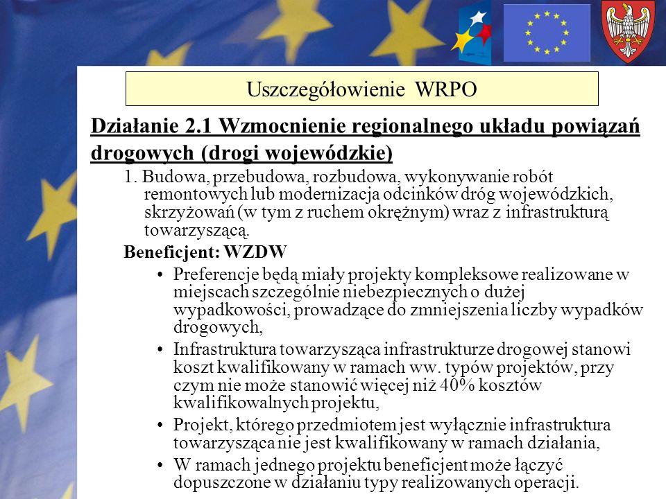 Działanie 2.1 Wzmocnienie regionalnego układu powiązań drogowych (drogi wojewódzkie) 1. Budowa, przebudowa, rozbudowa, wykonywanie robót remontowych l