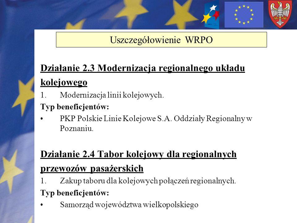 Działanie 2.3 Modernizacja regionalnego układu kolejowego 1.Modernizacja linii kolejowych. Typ beneficjentów: PKP Polskie Linie Kolejowe S.A. Oddziały