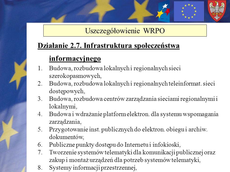 Działanie 2.7. Infrastruktura społeczeństwa informacyjnego 1.Budowa, rozbudowa lokalnych i regionalnych sieci szerokopasmowych, 2.Budowa, rozbudowa lo