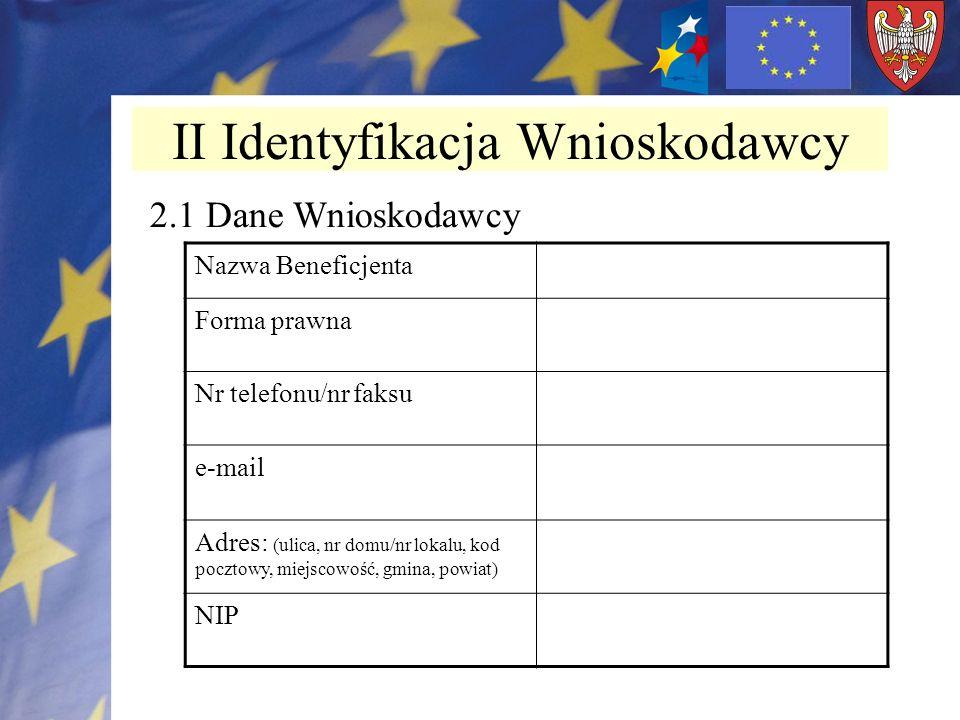 II Identyfikacja Wnioskodawcy Nazwa Beneficjenta Forma prawna Nr telefonu/nr faksu e-mail Adres: (ulica, nr domu/nr lokalu, kod pocztowy, miejscowość,