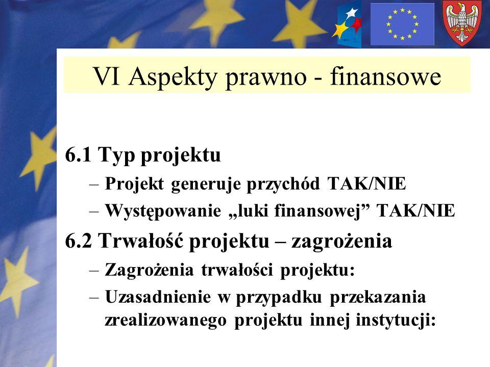 6.1 Typ projektu –Projekt generuje przychód TAK/NIE –Występowanie luki finansowej TAK/NIE 6.2 Trwałość projektu – zagrożenia –Zagrożenia trwałości pro