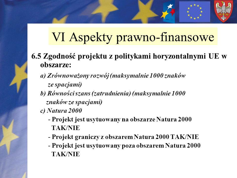 6.5 Zgodność projektu z politykami horyzontalnymi UE w obszarze: a) Zrównoważony rozwój (maksymalnie 1000 znaków ze spacjami) b) Równości szans (zatru